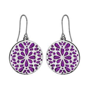 Boucles d\'oreilles en acier rondes motifs fleurs fond glitter violet et fermoir crochet - Vue 1