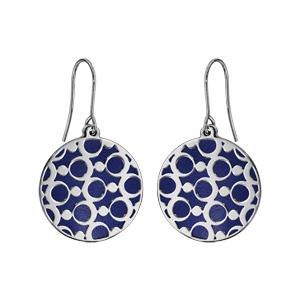 Boucles d\'oreilles en acier rondes motifs ronds fond bleu marine et fermoir crochet - Vue 1