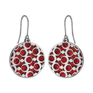 Boucles d\'oreilles en acier rondes motifs ronds glitter rouge fermoir crochet - Vue 1