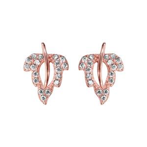 Boucles d\'oreilles en argent et dorure rose feuille ornée d\'oxydes blancs sertis avec centre ajouré et tige lisse et fermoir clou avec poussette - Vue 1