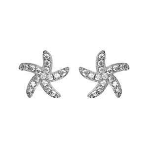 Boucles d\'oreilles en argent étoile de mer ornée d\'oxydes blancs sertis et fermoir clou avec poussette - Vue 1