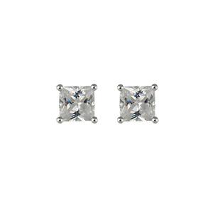 design intemporel 3de40 146f7 Boucles d'oreilles en argent oxyde carré blanc et fermoir clou avec  poussette