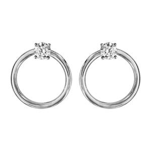 Boucles d\'oreilles en argent rhodié anneau lisse avec oxyde blanc sertis de 4mm et fermoir poussette - Vue 1