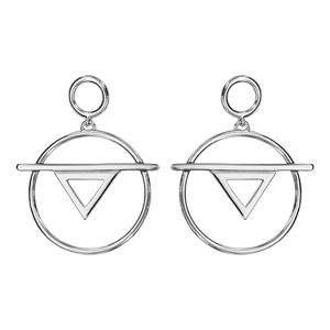 af4aa6155fb ... Boucles d oreilles en argent rhodié anneau suspendu avec 1 baguette et  1 triangle évidé