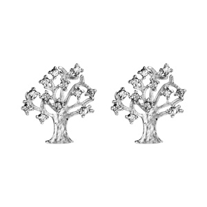 Boucles d\'oreilles en argent rhodié arbre de vie avec oxydes blancs sertis au bout des branches et fermoir poussette - Vue 1