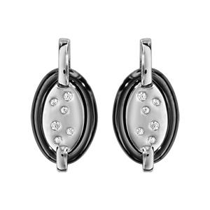Boucles d\'oreilles en argent rhodié barrette retenant 1 ovale en céramique noire et éclats d\'oxydes blancs sertis et fermoir clou avec poussette - Vue 1
