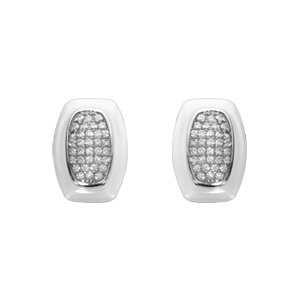 Boucles d\'oreilles en argent rhodié céramique blanche et oxydes sertis fermoir tige à poussette - Vue 1
