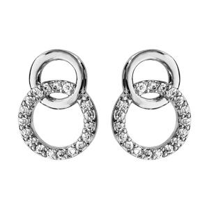 Boucles d\'oreilles en argent rhodié 2 cercle emmaillés, 1 petit et lisse et l\'autre en oxydes blancs et fermoir poussette - Vue 1