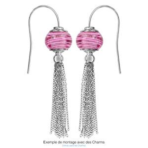 Boucles d\'oreilles en argent rhodié charms avec plusieurs chaînettes et fermoir crochet - Vue 1