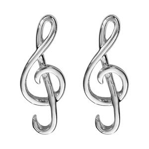 Boucles d 39 oreilles en argent rhodi clef de sol et fermoir tige poussette - Poussette de boucle d oreille ...