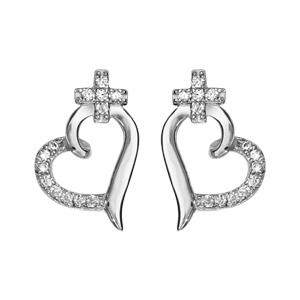 Boucles d'oreilles en argent rhodié coeur avec 1 moitié lisse et l'autre ornée d'oxydes blancs et petite croix en oxydes blancs et fermoir tige à poussette