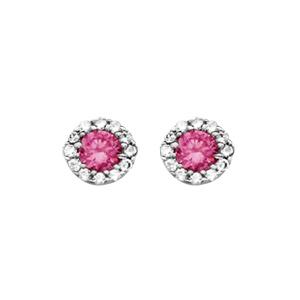 Boucles d\'oreilles en argent rhodié collection joaillerie 1 gros oxyde rose au centre avec contour en oxydes blancs et fermoir poussette - Vue 1