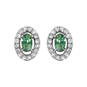 Boucles d\'oreilles en argent rhodié collection joaillerie oxyde ovale vert avec entourage d\'oxydes blancs sertis et fermoir poussette - Vue 1