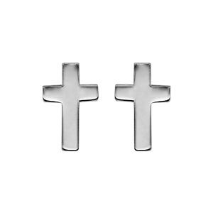Boucles d'oreilles en argent rhodié croix chrétienne et fermoir tige à poussette