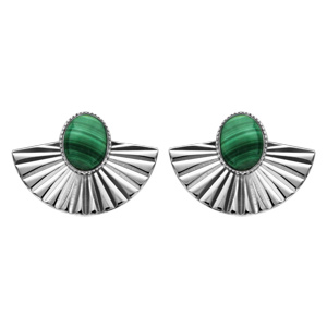 Boucles d\'oreilles en argent rhodié drapées avec pierre malachite véritable et fermoir poussette - Vue 1