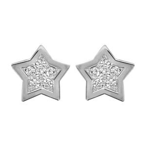 Boucles d\'oreilles en argent rhodié étoile pavée d\'oxydes blancs sertis avec bords lisses et fermoir poussette - Vue 1