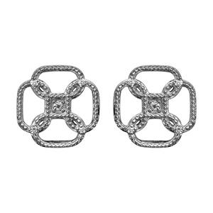 Boucles d'oreilles en argent rhodié fleur retro avec oxydes blancs et fermoir tige à poussette