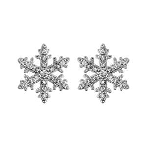 Boucles d\'oreilles en argent rhodié flocon de neige orné d\'oxydes blancs sertis et fermoir clou avec poussette - Vue 1