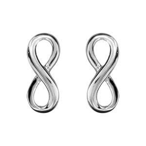 Boucles d\'oreilles en argent rhodié infini lisse petit modèle et fermoir poussette - Vue 1