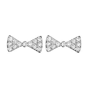 Boucles d\'oreilles en argent rhodié noeud papillon en oxydes blancs sertis et fermoir poussette - Vue 1