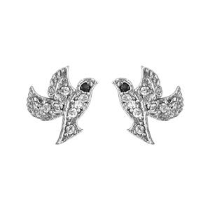 Boucles d\'oreilles en argent rhodié oiseau pavé d\'oxydes blancs sertis et yeux noirs et fermoir clou avec poussette - Vue 1