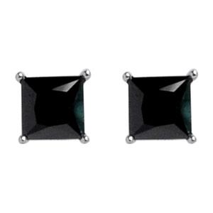42ea4018f Boucles d'oreilles en argent rhodié oxyde carré noir et fermoir clou avec  poussette
