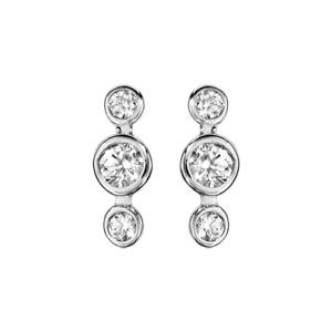 Boucles d\'oreilles en argent rhodié 3 oxydes blancs sertis clos de taille différente et fermoir clou avec poussette - Vue 1