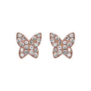 Boucles d\'oreilles en argent rhodié papillon dorure rose pavé d\'oxydes blancs sertis et fermoir poussette - Vue 1