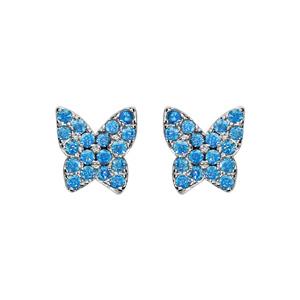 Boucles d\'oreilles en argent rhodié papillon pavé de pierres bleu ciel sertis et fermoir poussette - Vue 1