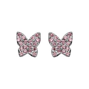 Boucles d\'oreilles en argent rhodié papillon pavé de pierres roses serties et fermoir poussette - Vue 1