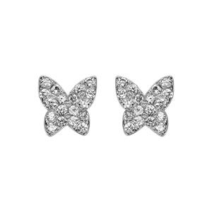 Boucles d\'oreilles en argent rhodié papillon pavé d\'oxydes blancs sertis et fermoir poussette - Vue 1