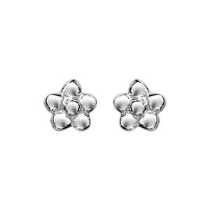 Boucles d\'oreilles en argent rhodié petite fleur et fermoir poussette - Vue 1