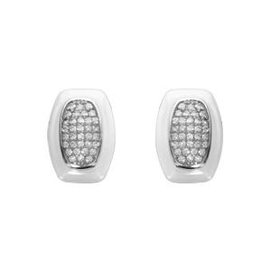 Boucles d\'oreilles en argent rhodié rectangle en céramique blanche orné d\'oxydes sertis et fermoir poussette - Vue 1