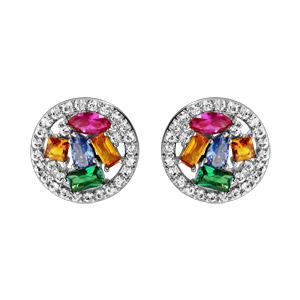 Boucles d\'oreilles en argent rhodié rondes pierres multicolores et fermoir poussette - Vue 1