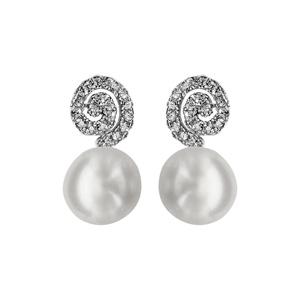 Boucles d\'oreilles en argent rhodié spirale en oxyde blancs sertis avec perle blanche synthétique au bout et fermoir clou avec poussette - Vue 1