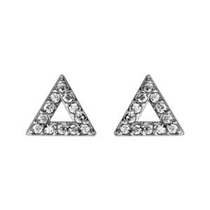 Boucles d\'oreilles en argent rhodié triangle évidé en oxydes blancs sertis et fermoir clou avec poussette - Vue 1