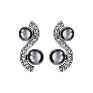 Boucles d\'oreilles en argent rhodié vague d\'oxydes blancs sertis avec perles grises et fermoir poussette - Vue 1