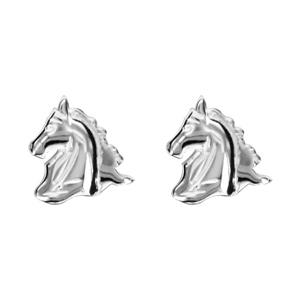 Boucles d\'oreilles en argent tête de cheval et fermoir clou avec poussette - Vue 1