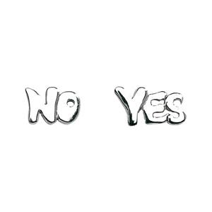Boucles d\'oreilles en argent yes & no et fermoir clou avec poussette - Vue 1