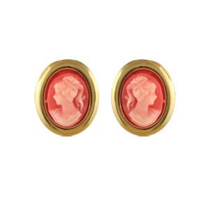 Boucles d\'oreilles en plaqué or camée rose vif avec tour lisse et fermoir clou avec poussette - Vue 1