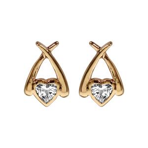Boucles d\'oreilles en plaqué or coeur en oxyde blanc serti clos entouré de 2 brins lisses et fermoir poussette - Vue 1