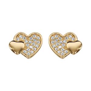 Boucles d\'oreilles en plaqué or cœur pavé d\'oxydes blancs et petit cœur lisse et fermoir poussette - Vue 1