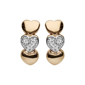 Boucles d\'oreilles en plaqué or cœurs 2 lisses et 1 orné oxydes blancs sertis et fermoir poussette - Vue 1