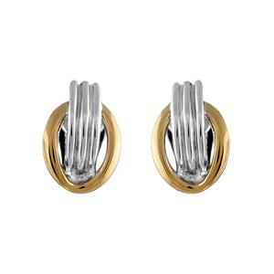 Boucles d\'oreilles en plaqué or et palladium clip bicolore ovale et 3 brins fermoir clip pour oreilles non percées - petit modèle - Vue 1