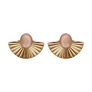 Boucles d\'oreilles en plaqué or et pierre Quartz rose véritable avec drapé et fermoir poussette - Vue 1