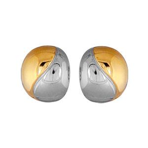 Boucles d\'oreilles en plaqué or et plaqué palladium clip bicolore boule et fermoir clip pour oreilles non percées - Vue 1