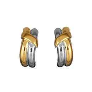 Boucles d\'oreilles en plaqué or et plaqué palladium clip bicolore 2 brins avec ruban et fermoir clip pour oreilles non percées - Vue 1
