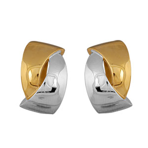 Boucles d\'oreilles en plaqué or et plaqué palladium clip bicolores 2 rubans entrelacés fermoir clip pour oreilles non percées - grand modèle - Vue 1