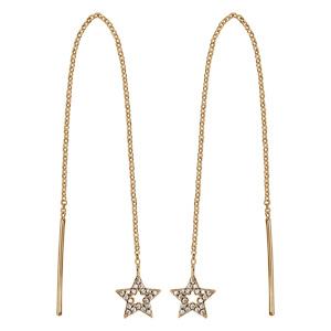 Boucles d\'oreilles en plaqué or étoile passantes avec chaînette avec baguette à 1 extrémité et étoile évidée ornée d\'oxydes blancs sertis à l\'autre - Vue 1