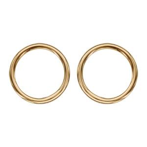 Boucles d\'oreilles en plaqué or géométrie anneau lisse et fermoir poussette - Vue 1
